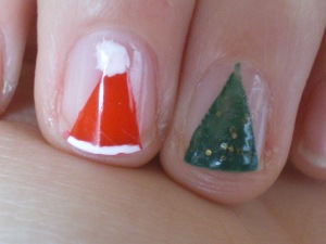 Diy easy christmas nail art darly lifestyle blog the trick for cresting both of the look is using sellotape i know that they sell other things that are made specially for this purpose but sellotape is prinsesfo Gallery